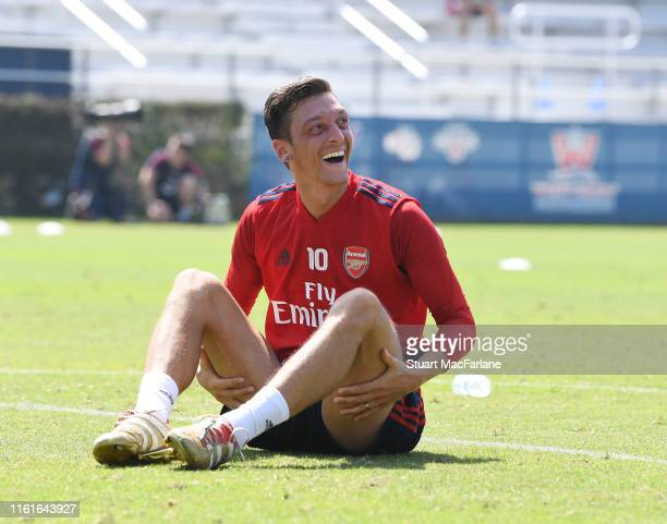 Mesut Ozil of Arsenal during a training session at the Loyola Marymount University on July 12 2019 in Los Angeles California