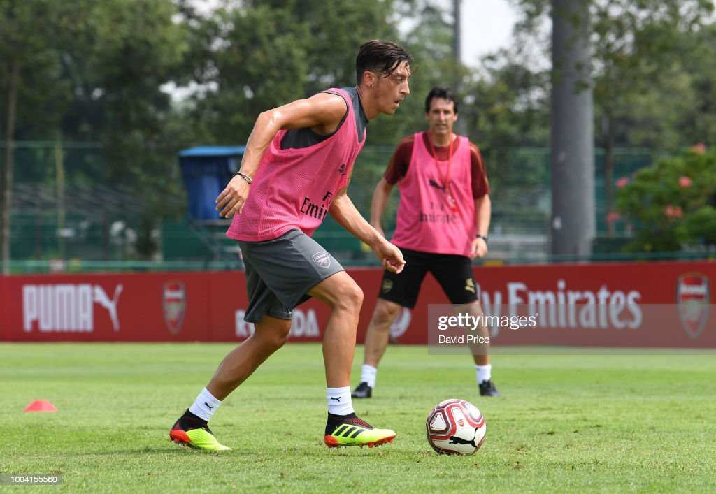 Mesut Ozil of Arsenal during an Arsenal Training Session at Singapore American School on July 23, 2018 in Singapore.