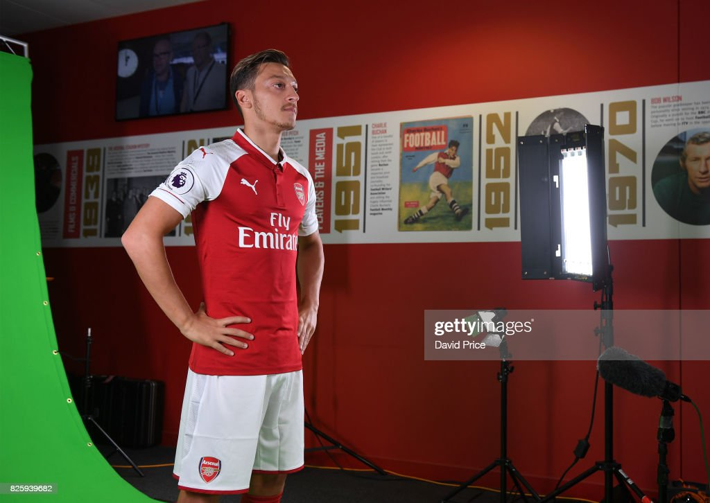Mesut Ozil of Arsenal during his media duties before Arsenal Training Session at Emirates Stadium on August 3, 2017 in London, England.