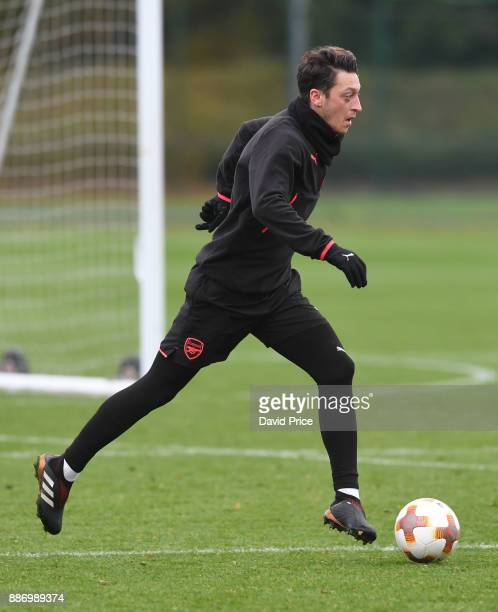Mesut Ozil of Arsenal during the Arsenal training session on the eve of the UEFA Europa League group H match against BATE Borisov at London Colney on...