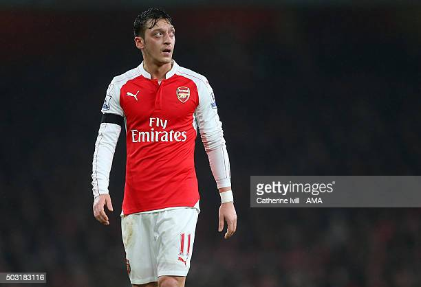 Mesut Ozil of Arsenal during the Barclays Premier League match between Arsenal and Newcastle United at Emirates Stadium on January 2 2016 in London...