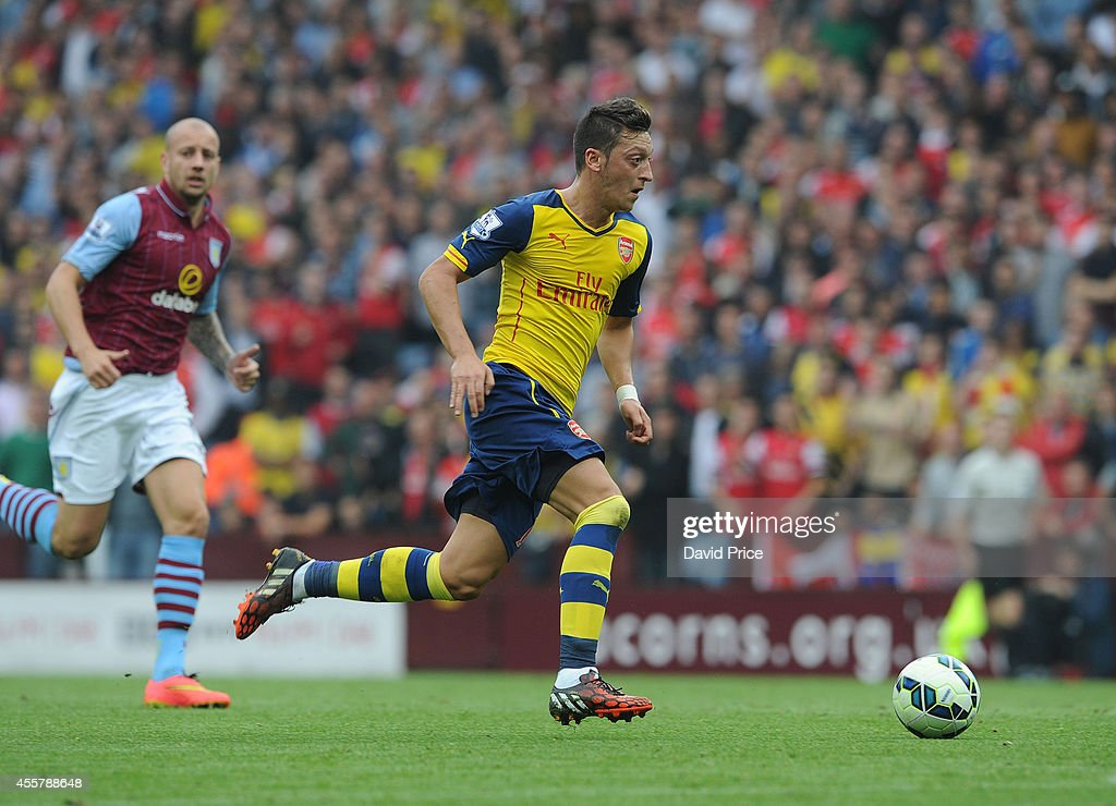 Mesut Ozil of Arsenal during the Barclays Premier League match between Aston Villa and Arsenal at Villa Park on September 20, 2014 in Birmingham, England.