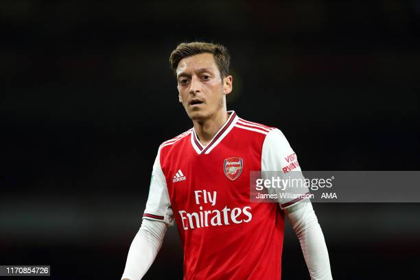 Mesut Ozil of Arsenal during the Carabao Cup Third Round match between Arsenal and Nottingham Forest at Emirates Stadium on September 24 2019 in...