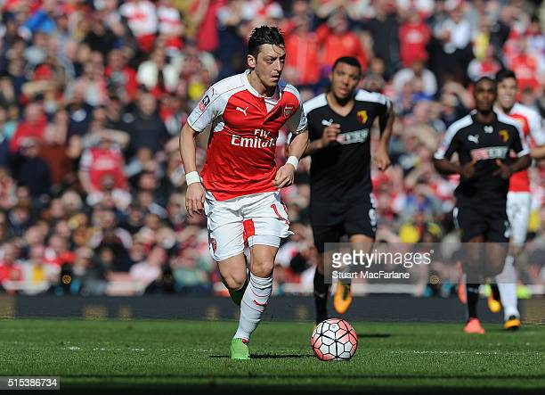 Mesut Ozil of Arsenal during the Emirates FA Cup Sixth Round match between Arsenal and Watford at Emirates Stadium on March 13 2016 in London England