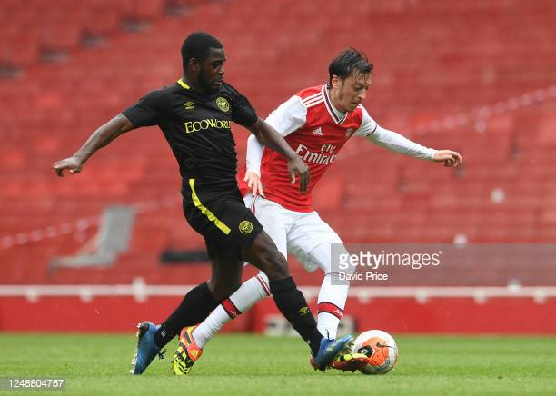 Mesut Ozil of Arsenal during the friendly match between Arsenal and Brentford at Emirates Stadium on June 10 2020 in London England