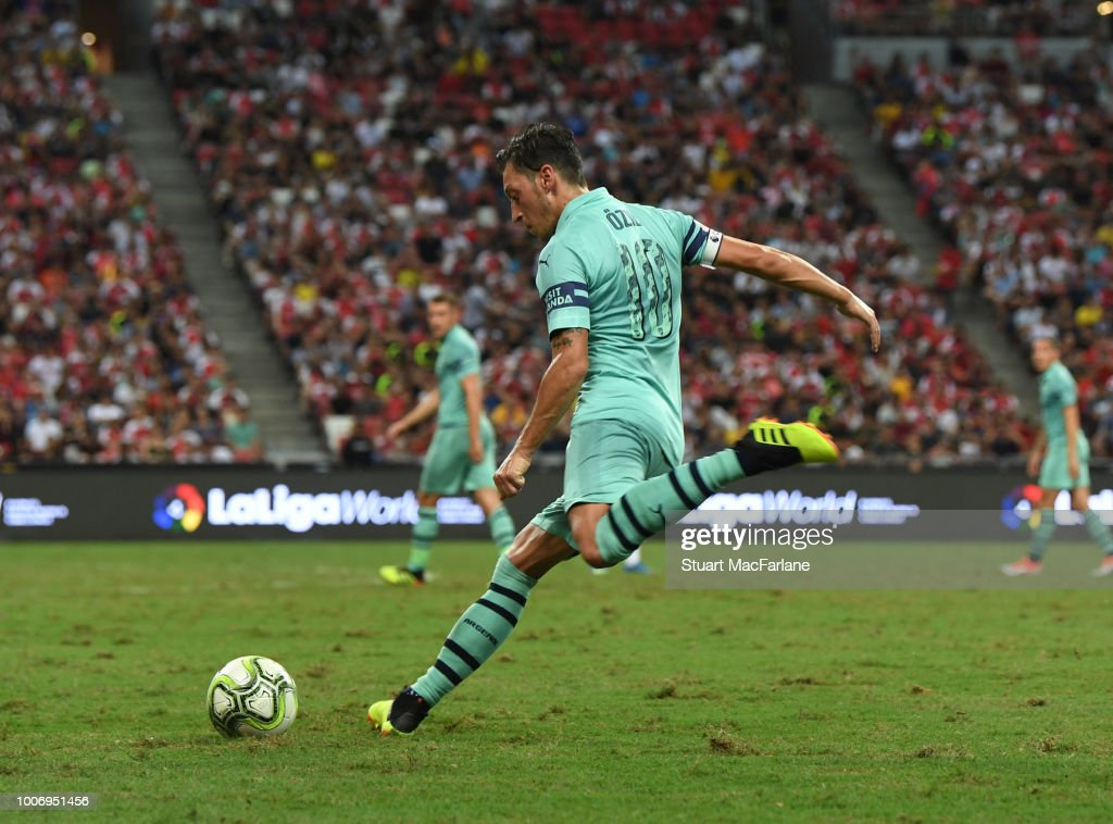 Mesut Ozil of Arsenal during the International Champions Cup match between Arsenal and Paris Saint Germain at the National Stadium on July 28, 2018 in Singapore.