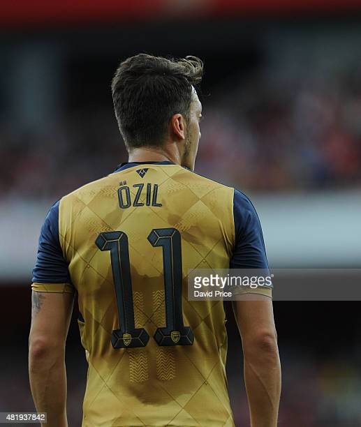 Mesut Ozil of Arsenal during the match between Arsenal and Olympic Lyon at Emirates Stadium on July 25 2015 in London England