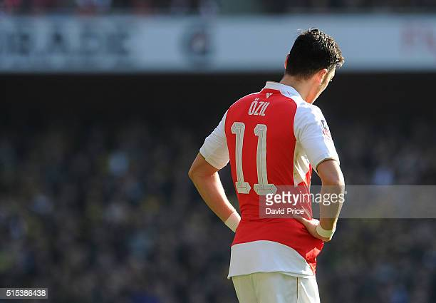 Mesut Ozil of Arsenal during the match between Arsenal and Watford in the FA Cup 6th round at Emirates Stadium on March 13 2016 in London England