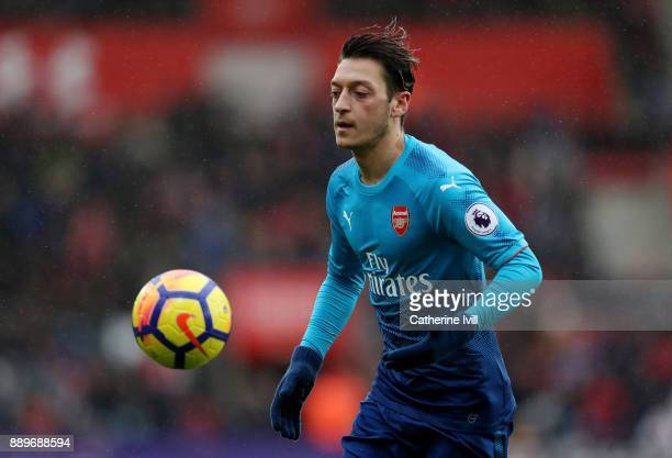 Mesut Ozil of Arsenal during the Premier League match between Southampton and Arsenal at St Mary's Stadium on December 10 2017 in Southampton England