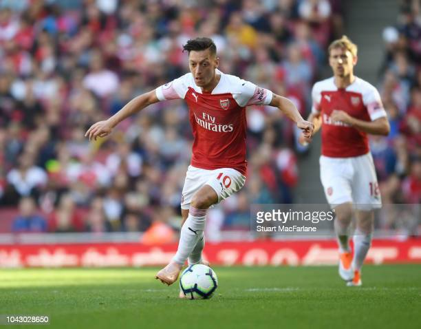 Mesut Ozil of Arsenal during the Premier League match between Arsenal FC and Watford FC at Emirates Stadium on September 29 2018 in London United...