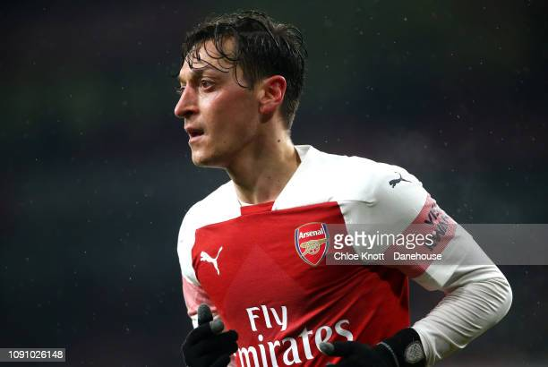 Mesut Ozil of Arsenal during the Premier League match between Arsenal FC and Cardiff City at The Emirates Stadium on January 29 2019 in London United...