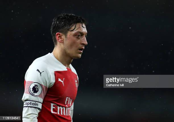 Mesut Ozil of Arsenal during the Premier League match between Arsenal FC and Cardiff City at Emirates Stadium on January 29 2019 in London United...