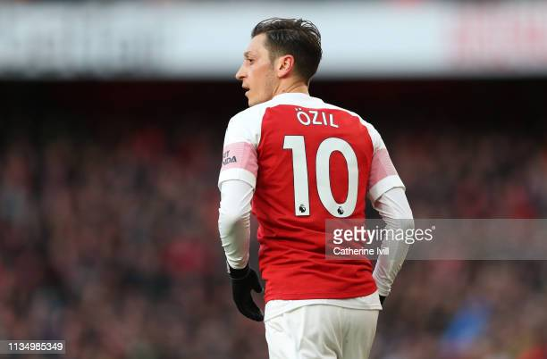 Mesut Ozil of Arsenal during the Premier League match between Arsenal FC and Manchester United at Emirates Stadium on March 10 2019 in London United...