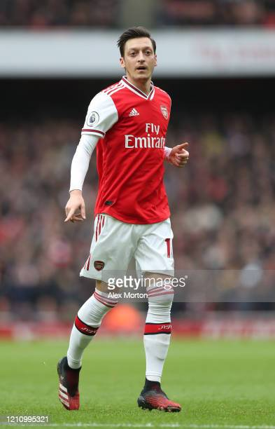 Mesut Ozil of Arsenal during the Premier League match between Arsenal FC and West Ham United at Emirates Stadium on March 07, 2020 in London, United...