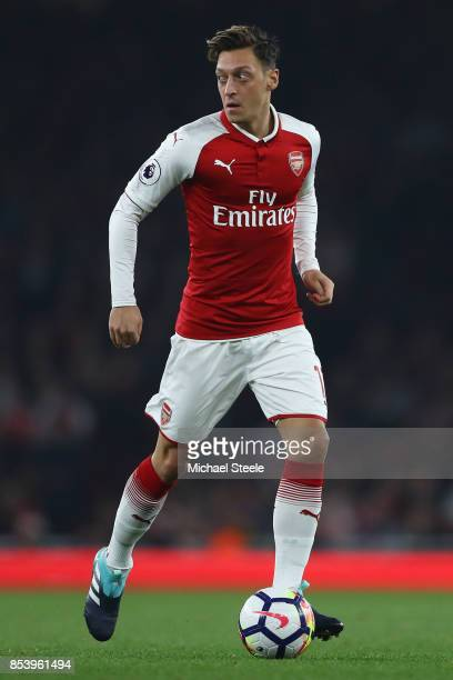 Mesut Ozil of Arsenal during the Premier League match between Arsenal and West Bromwich Albion at Emirates Stadium on September 25 2017 in London...