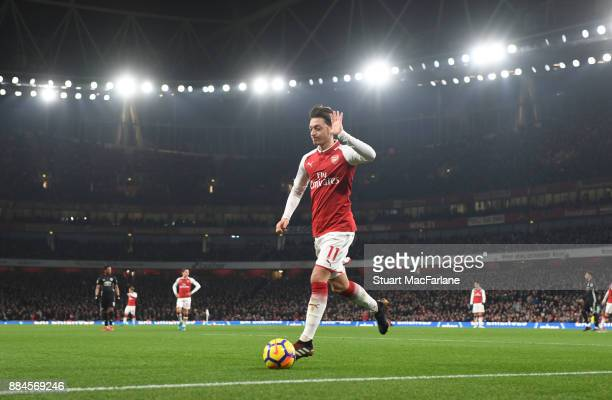 Mesut Ozil of Arsenal during the Premier League match between Arsenal and Manchester United at Emirates Stadium on December 2 2017 in London England