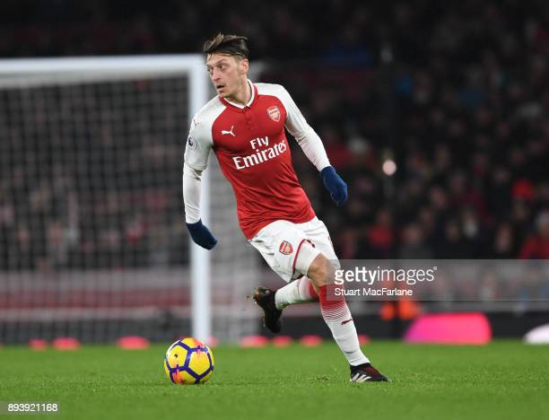 Mesut Ozil of Arsenal during the Premier League match between Arsenal and Newcastle United at Emirates Stadium on December 16 2017 in London England