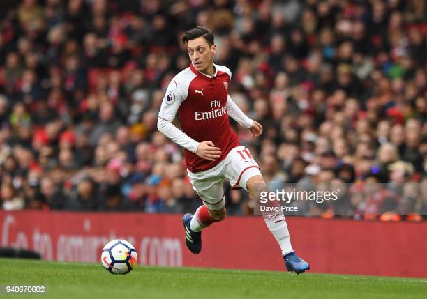 Mesut Ozil of Arsenal during the Premier League match between Arsenal and Stoke City at Emirates Stadium on April 1 2018 in London England