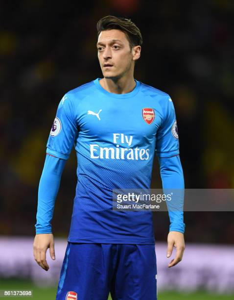 Mesut Ozil of Arsenal during the Premier League match between Watford and Arsenal at Vicarage Road on October 14 2017 in Watford England