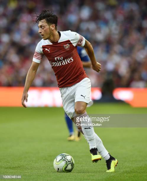 Mesut Ozil of Arsenal during the Preseason friendly International Champions Cup game between Arsenal and Chelsea at Aviva stadium on August 1 2018 in...