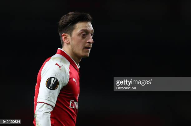 Mesut Ozil of Arsenal during the UEFA Europa League quarter final leg one match between Arsenal FC and CSKA Moskva at Emirates Stadium on April 5...