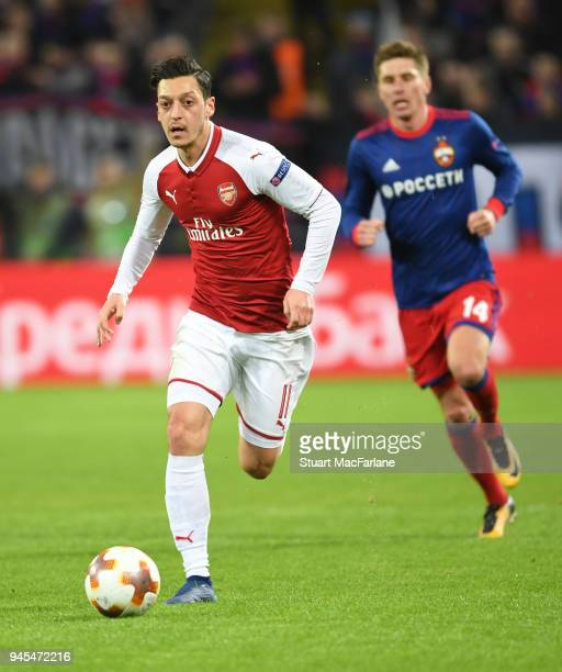 Mesut Ozil of Arsenal during the UEFA Europa League quarter final leg two match between CSKA Moskva and Arsenal FC at on April 12 2018 in Moscow...