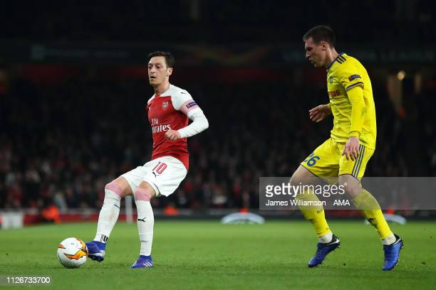 Mesut Ozil of Arsenal during the UEFA Europa League Round of 32 Second Leg match between Arsenal and BATE Borisov at England on February 21 2019 in...