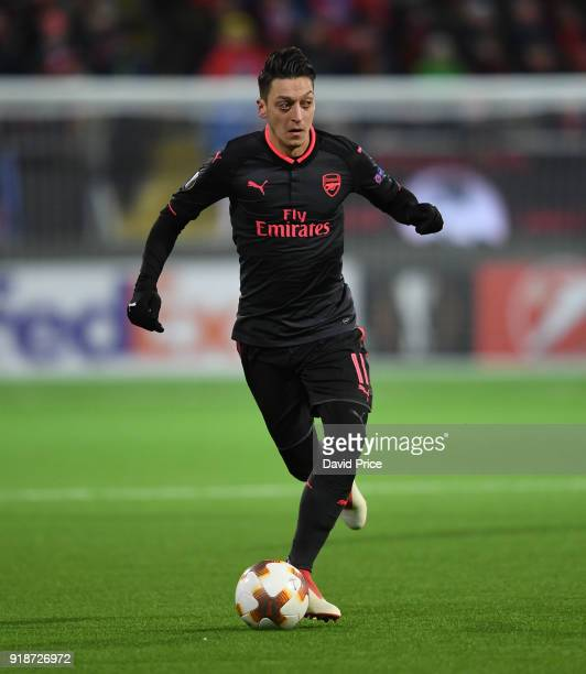 Mesut Ozil of Arsenal during UEFA Europa League Round of 32 match between Ostersunds FK and Arsenal at the Jamtkraft Arena on February 15 2018 in...