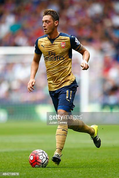 Mesut Ozil of Arsenal in action during the Barclays Premier League match between Crystal Palace and Arsenal at Selhurst Park on August 16 2015 in...