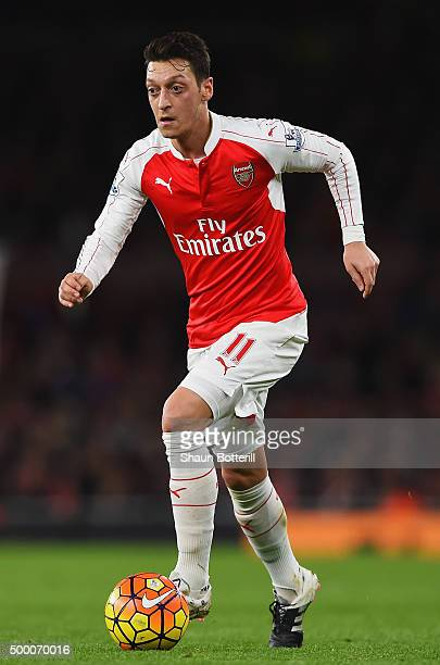 Mesut Ozil of Arsenal in action during the Barclays Premier League match between Arsenal and Sunderland at Emirates Stadiumon December 5 2015 in...