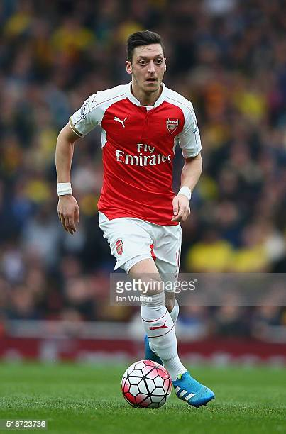 Mesut Ozil of Arsenal in action during the Barclays Premier League match between Arsenal and Watford at Emirates Stadium on April 2 2016 in London...