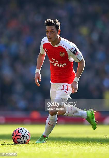 Mesut Ozil of Arsenal in action during the Emirates FA Cup sixth round match between Arsenal and Watford at Emirates Stadium on March 13 2016 in...