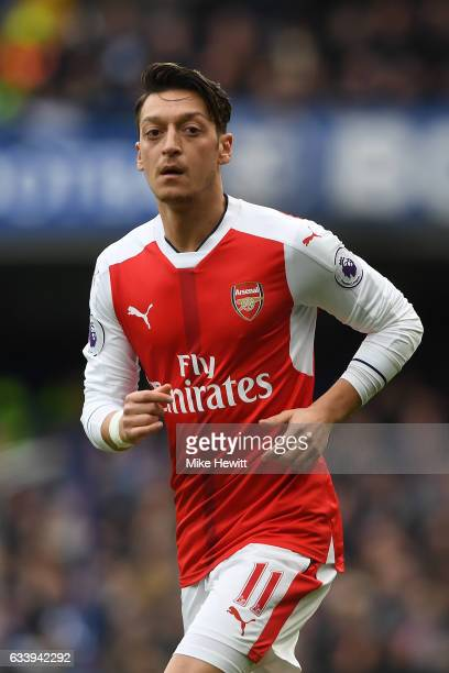 Mesut Ozil of Arsenal in action during the Premier League match between Chelsea and Arsenal at Stamford Bridge on February 4 2017 in London England