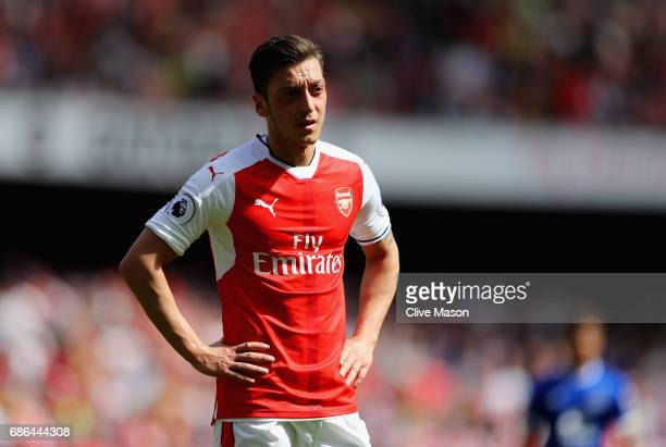 Mesut Ozil of Arsenal in action during the Premier League match between Arsenal and Everton at Emirates Stadium on May 21 2017 in London England