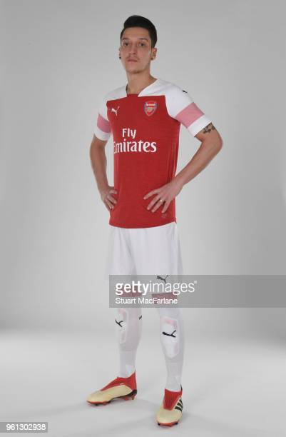 Mesut Ozil of Arsenal in the new home kit for season 201819 on March 16 2018 in St Albans England