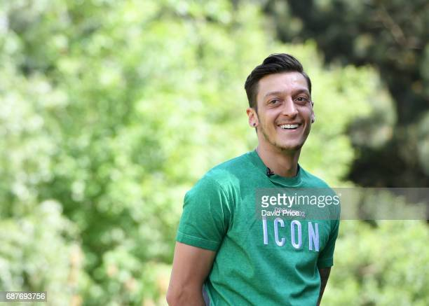 Mesut Ozil of Arsenal is interviewed during the FA Cup media day at London Colney on May 24 2017 in St Albans England