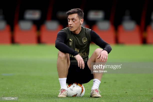 Mesut Ozil of Arsenal looks on during an Arsenal training session on the eve of the UEFA Europa League Final against Chelsea at Baku Olimpiya Stadion...