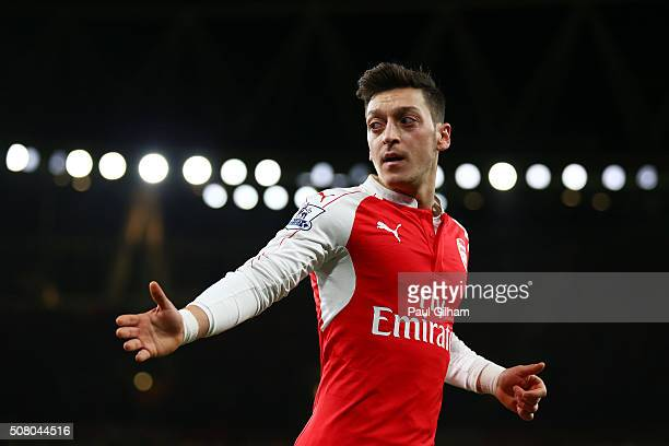 Mesut Ozil of Arsenal looks on during the Barclays Premier League match between Arsenal and Southampton at the Emirates Stadium on February 2 2016 in...