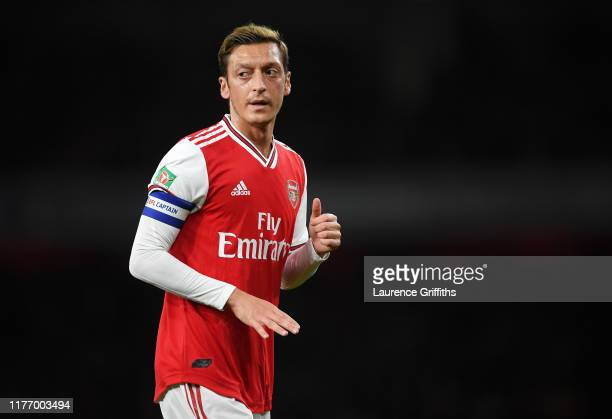 Mesut Ozil of Arsenal looks on during the Carabao Cup Third Round match between Arsenal and Nottingham Forest at Emirates Stadium on September 24...