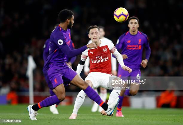 Mesut Ozil of Arsenal looks on during the Premier League match between Arsenal FC and Liverpool FC at Emirates Stadium on November 3 2018 in London...