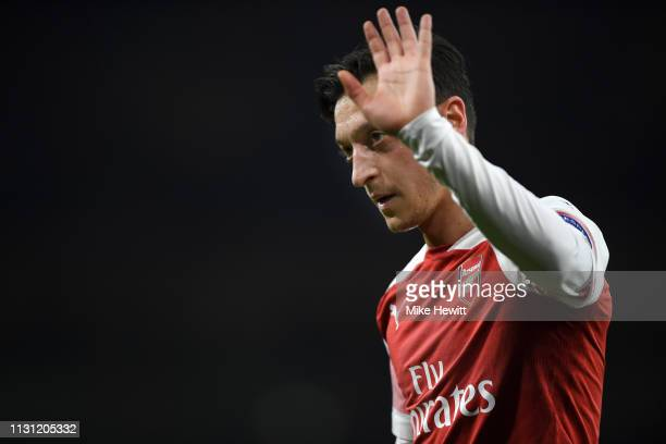 Mesut Ozil of Arsenal looks on during the UEFA Europa League Round of 32 Second Leg match between Arsenal and BATE Borisov at Emirates Stadium on...