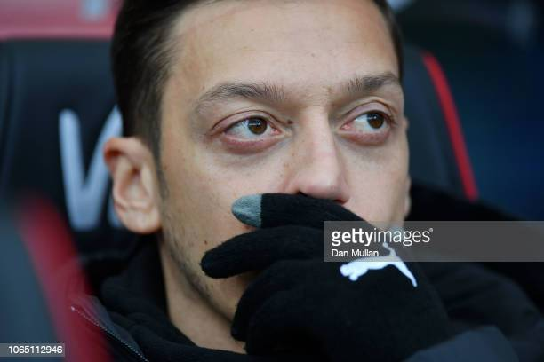 Mesut Ozil of Arsenal looks on prior to the Premier League match between AFC Bournemouth and Arsenal FC at Vitality Stadium on November 25 2018 in...