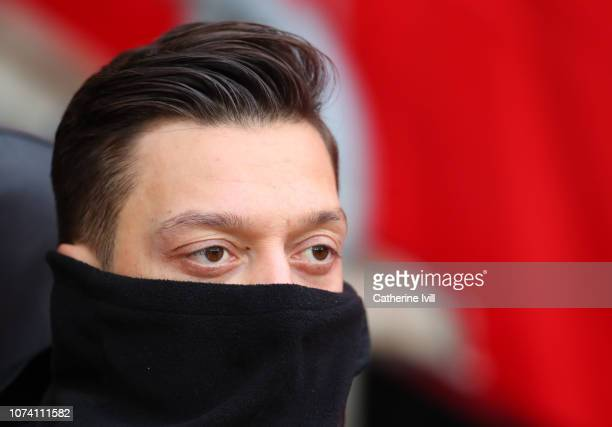 Mesut Ozil of Arsenal on the bench during the Premier League match between Southampton FC and Arsenal FC at St Mary's Stadium on December 16 2018 in...