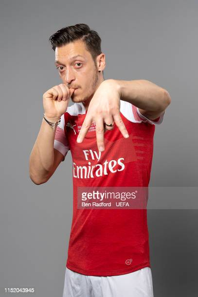 Mesut Ozil of Arsenal poses for a photo during the Arsenal Europa League Final Media Day at London Colney on May 21, 2019 in St Albans, England.