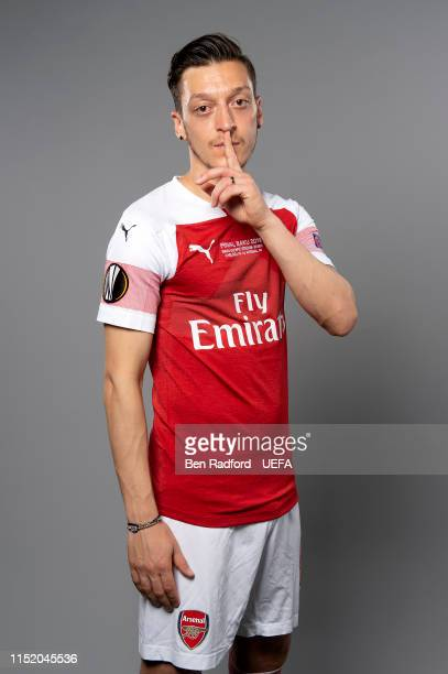 Mesut Ozil of Arsenal poses for a photo during the Arsenal Europa League Final Media Day at London Colney on May 21 2019 in St Albans England