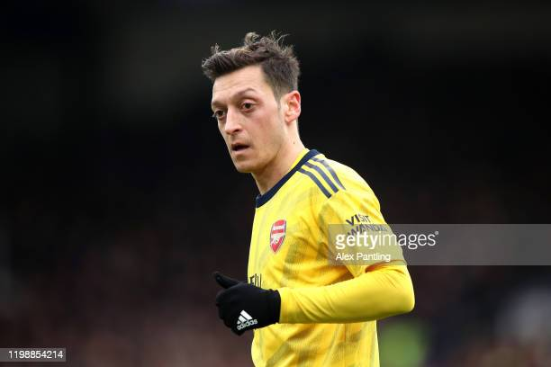 Mesut Ozil of Arsenal reacts during the Premier League match between Crystal Palace and Arsenal FC at Selhurst Park on January 11, 2020 in London,...