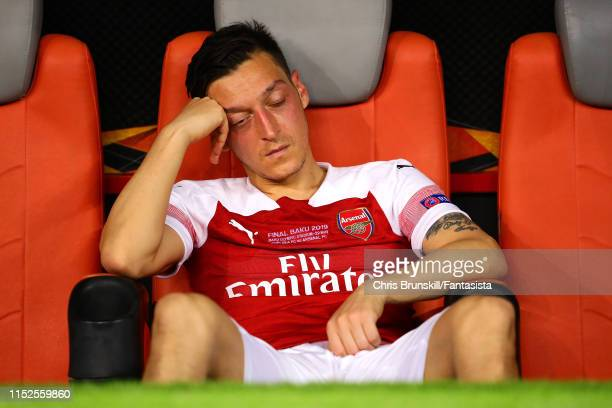 Mesut Ozil of Arsenal reacts following the UEFA Europa League Final between Chelsea and Arsenal at Baku Olimpiya Stadionu on May 29 2019 in Baku...