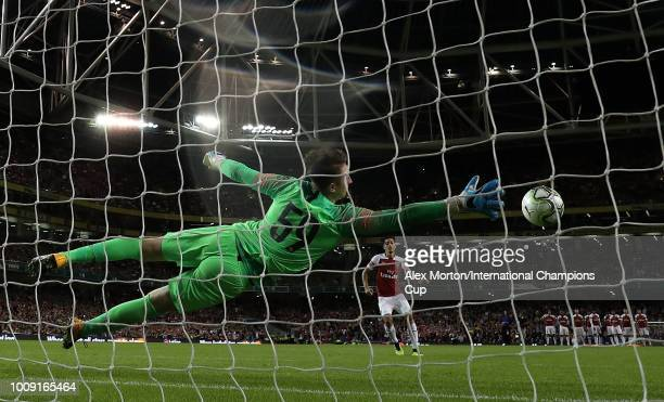 Mesut Ozil of Arsenal scores from the penalty spot during the penalty shoot out during the International Champions Cup 2018 match between Arsenal and...