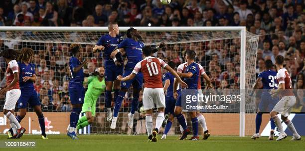 Mesut Ozil of Arsenal takes a free kick during the Preseason friendly International Champions Cup game between Arsenal and Chelsea at Aviva stadium...