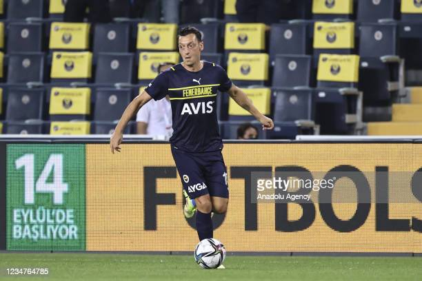 Mesut Ozil of Fenerbahce in action during UEFA Europa League play-off soccer match between Fenerbahce and HJK Helsinki at Ulker Stadium in Istanbul,...